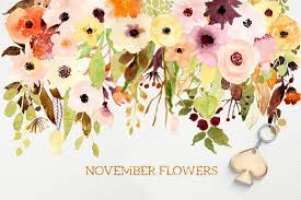 November Flowers Logos And November Flowers By Webvilla Thehungryjpeg Com