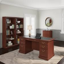 executive desk with file drawers saratoga executive desk file cabinet and 5 shelf bookcase in cherry