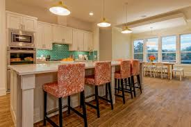 kitchen islands with stools round drum pendant light brown carpet