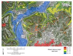 Map Cincinnati Cincinnati Area Elevation Distribution