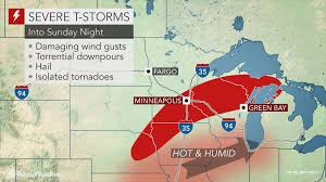 Upper Midwest Map Severe Storms To Barrel Through The Upper Midwest Through Sunday Night