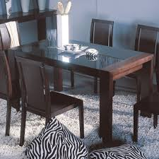 Glass Rectangle Dining Table Reflex Dining Table With Black Glass Top With Wooden Base In Wenge