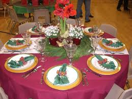 Classy Christmas Party Decor by Round Dining Table For Christmas Banquet Decorating Ideas With