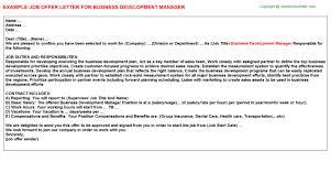 company offer letter template business development manager offer letter