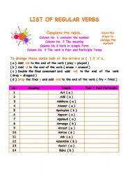 english teaching worksheets regular verbs