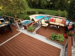 decor backyard deck ideas with patio furniture and planters also