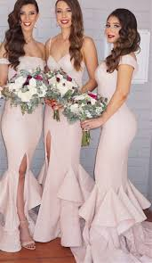 wedding dresses for of honor 2018 sequins mermaid bridesmaid dresses pink layers side