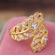 vintage design rings images New design gold color big wedding rings vintage aaa zircon leaf jpg
