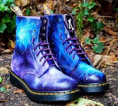 diy inspiration hand painted galaxy print doc martens shoe