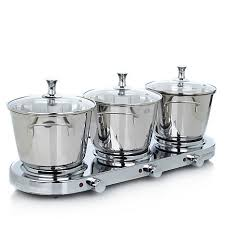 infusion collection 8 piece stainless triple burner buffet set