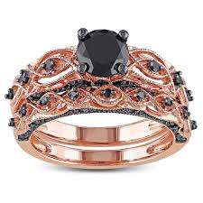 Black Diamond Wedding Ring Sets by Miadora 10k Rose Gold With Black Rhodium 1 3 8ct Tdw Black Diamond