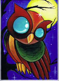 acylic owl painting by travis brown tattoonow