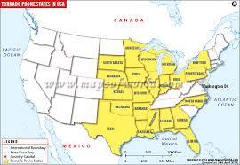 tornado map most tornado prone states in united states