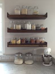 kitchen stub wall with pretty canisters spices whatever and