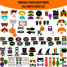 halloween photo booth props printable pdf instant download halloween circus printable photo booth prop set