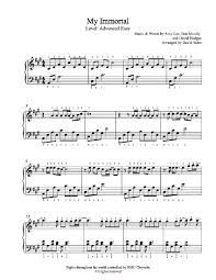 my immortal by evanescence piano sheet advanced level