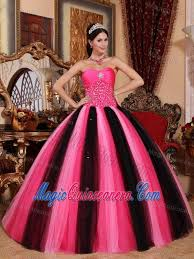 quinceaneras dresses hot pink and black beaded tulle quinceanera dresses in