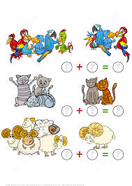 counting and addition of parrots cats and rams puzzle worksheet