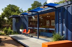 breathtaking homes made shipping containers with blue painting