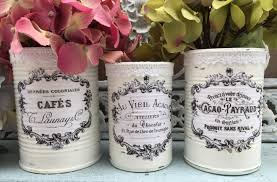3 french country painted lacy tin cans centerpieces vases