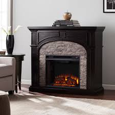 tanaya electric fireplace ebony w gray stacked stone mantels