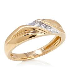 weding ring 10k yellow gold slant band wedding ring with 3 diamond accent