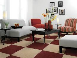 contemporary living room rugs brown stain wall beige fabric shade
