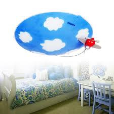 baby blue kids flush mount ceiling light with glass shade