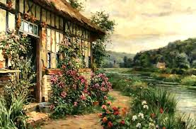 English Tudor by English Tudor Flowers Vines Climbing Painting Architecture Scenery