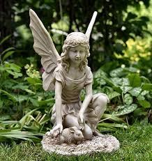 garden ornament kneeling with rabbit statue