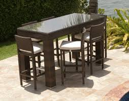 High Bar Table Set Outdoor Wicker Dining Table Set With High Bar Stool Placed On