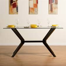 Glass Top Dining Table And Chairs Amazon Com Greenwich Glass Top Dining Table In Rich Coffee Tables