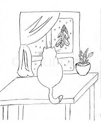 drawing of the cat on table against window stock photo colourbox
