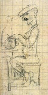 untitled sketch of a man seated at a table w mug arthur putnam