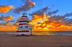 sunrise over lifeguard stand at south miami beach florida fine