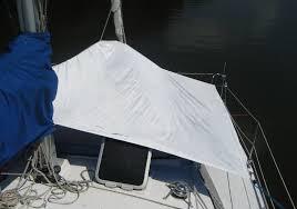Sailboat Awning Sunshade Sail Delmarva Bow And Forward Cabin Sun Shade For Pdq 32