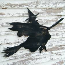 flying witch sign broom halloween decoration wooden witch