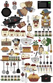 free country kitchen background clipart collection