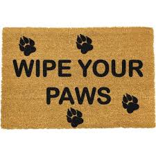 Coir Doormat Wipe Your Paws Wipe Your Paws With Pawprints Doormat Artsy Doormats Icon Cards