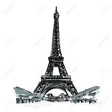 free hand sketch world famous landmark collection eiffel tower