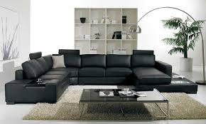 Modern Leather Living Room Furniture T35 Modern Black Sectional Sofa With 3 Headrests
