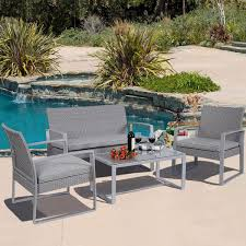 4 Piece Wicker Patio Furniture - amazon com 4 pc outdoor patio furniture set cushioned wicker