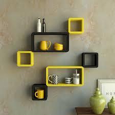 Yellow Black Room Decornation Wall Shelves Rack Set 6 Cube Rectangle Shelves