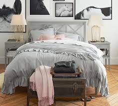 How To Make A Bed With A Duvet Tencel Ruffle Duvet Cover U0026 Sham Pottery Barn