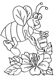 fat bumblebee scooping for honey coloring page download u0026 print