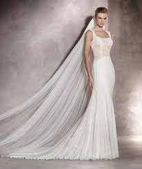 pronovias angela long mermaid drop waist and round neck wedding