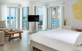 King Size Bed Hotel Mykonos Blanc Hotel Suite With Sea View