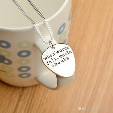 Hand Stamped Necklace Wholesale Hand Stamped Jewelrywhen Words Fail Music