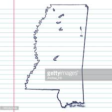 vector sketchy map on old lined paper background mississippi