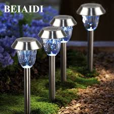 solar stake lights outdoor beiaidi 4pcs solar garden lawn light outdoor pathway stake light